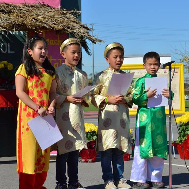 Students demonstrate excellent public speaking skills during the Lunar New Year celebration!