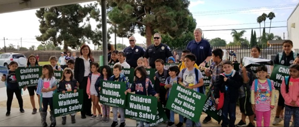 "Students celebrate ""Walk to school Day"" with some extra help from GGPD."