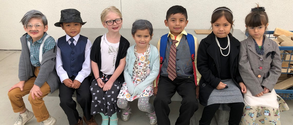 The oldest young people on campus help us celebrate our 100th day of school.